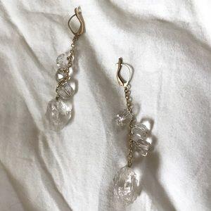 Jewelry - Vintage Raw Crystal Quartz Earrings Gold